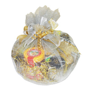 Gourmet gift hamper- Golden round tray in sliver net
