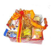 Gourmet gift hamper- Red metal tray with handle