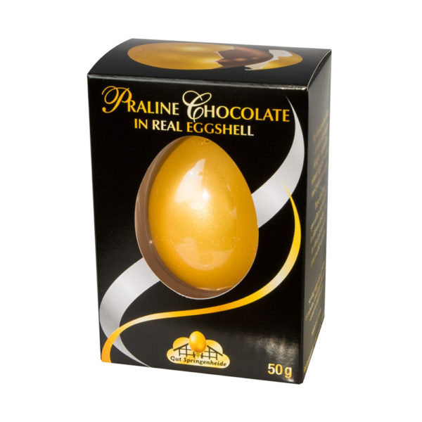Praline Chocolate in Real Egg Shell - Gold color egg in Black box 50g