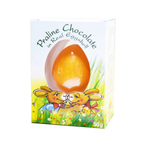Praline Chocolate in Real Egg Shell - Pastel color egg 50g