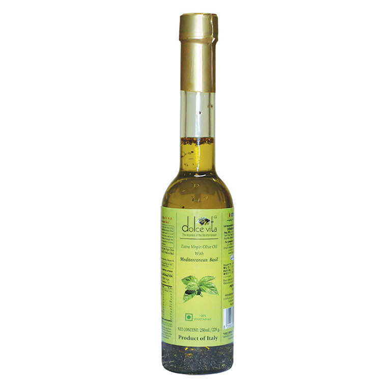 dolce vita Extra virgin olive oil basil flavored 250ml from Italy in India