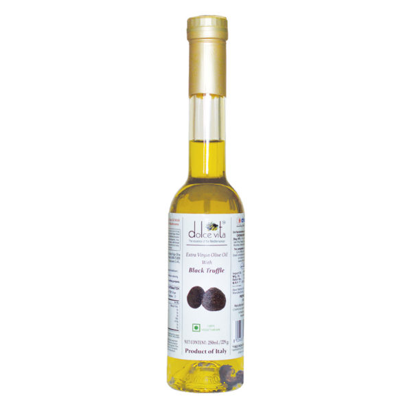 Black Imported Extra virgin olive oil Black truffle flavored 250ml buy online at theshopofgoodtaste.com - The Shop of Good Taste - The Shop of Imported & Premium Gourmet Food