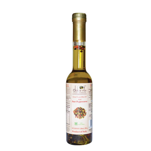 Imported Extra virgin olive oil Four peppercorns flavored 250ml buy online at theshopofgoodtaste.com - The Shop of Good Taste - The Shop of Imported & Premium Gourmet Food